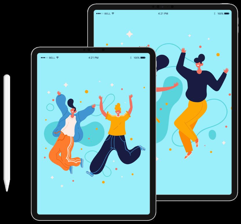 dois tablets com os personagens alegres na tela